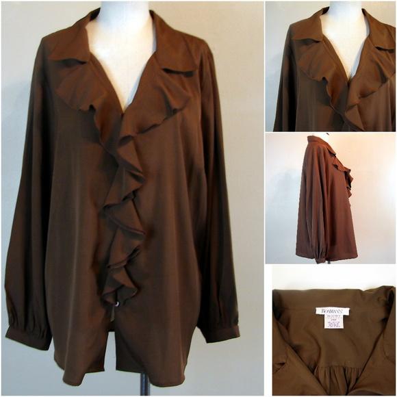 79eccc3796c Roaman s brown ruffle blouse plus size 24W